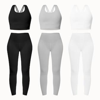 Completo sportivo basic da donna con reggiseni e leggings