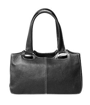 白い背景で隔離の女性の黒い革のバッグ