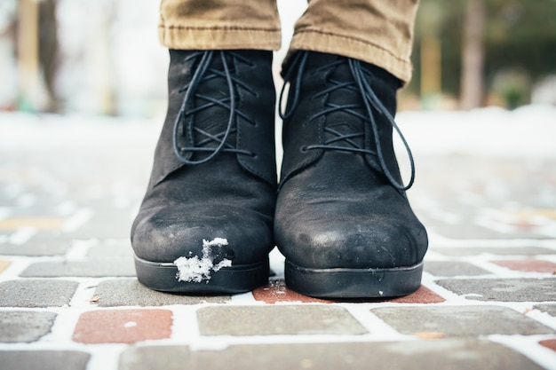 Women's boots in the snow