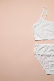 베이지 색 배경에 여성 면화 브래지어와 속옷. 소녀들을위한 클래식 속옷. 평평하다.