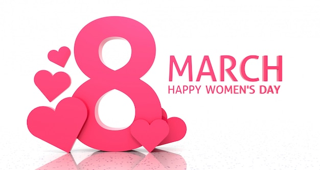 Women's day banner background. 3d rendering.