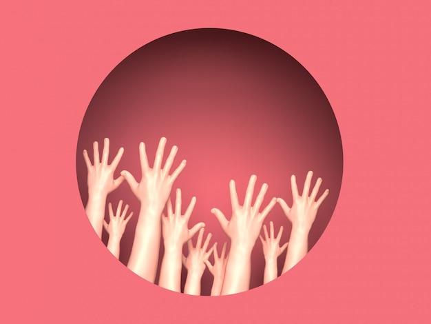 원 안에 많은 손을 가진 여성의 날 그림. 3d 일러스트레이션