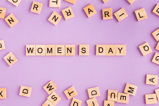 Women's day written in scrabble letters