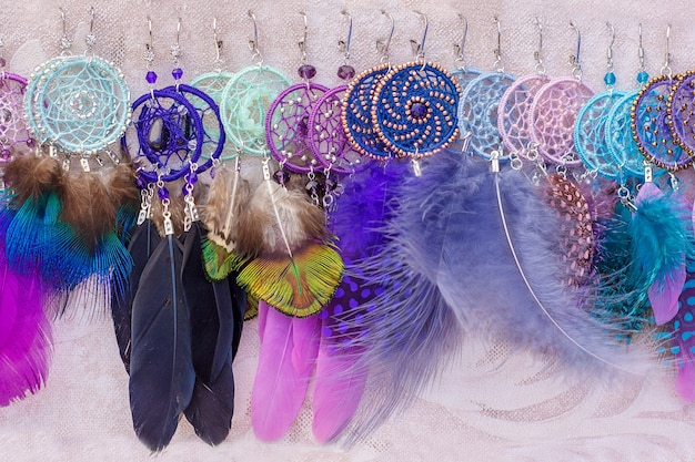 Women's earrings of dreamcatcher with feathers