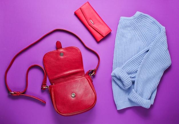 Women's fashion items on a purple background
