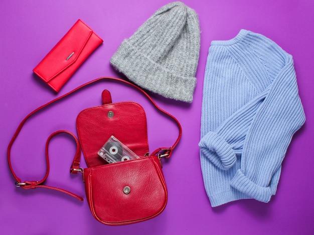 Women's fashion items on purple background