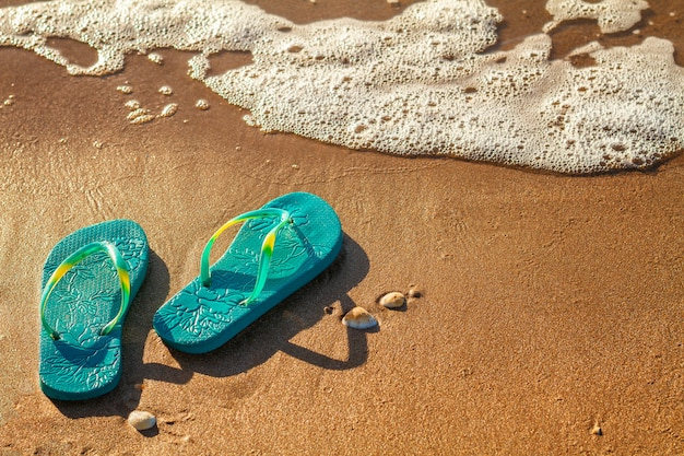 Women's flip flops stand on the beach on the sand, vacation concept