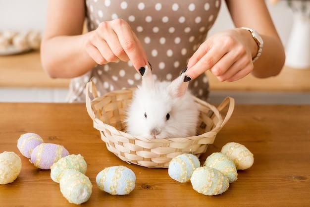 女性の手はウサギを耳でつかみます。イースターバニーは、木製のテーブルの上のバスケットに座っています。