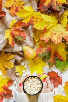 Women's hands holding a cup of hot cocoa with marshmallow on a white wooden table with colorful autumn leaves