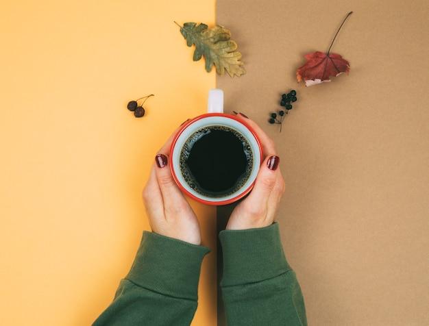 2色の背景にコーヒーと乾燥した葉を持つ女性の手。
