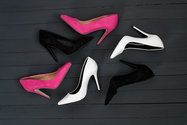 Women's high heel shoes in different colors