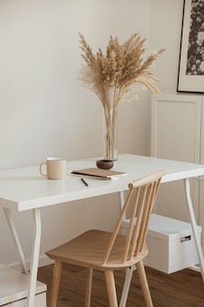 Women's home office workspace. freelance work, business workplace.