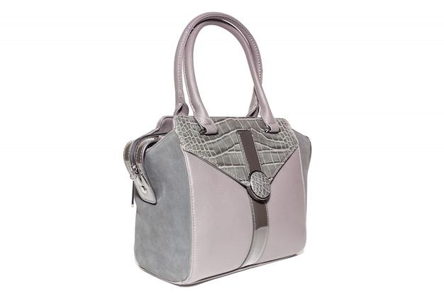 Women's leather handbag pink colour