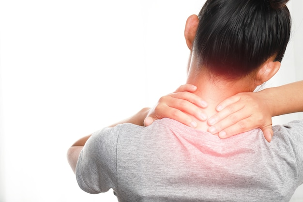 Women's neck and shoulder pain and injuries,muscle aches,health care and medical