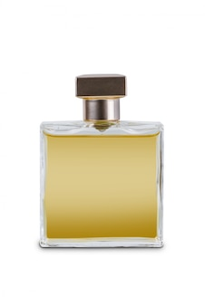 Women's perfume in beautiful transparency bottle isolated