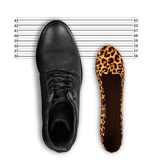 여성 신발과 남성 신발, 파트너십과 평등을 위한 상징적인 사진