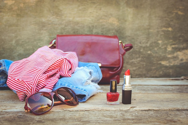 Women's summer clothing and cosmetics