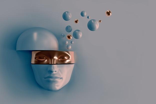 조각으로 자른 여성의 볼륨 얼굴. 얼굴의 일부는 마스크를 나타냅니다. 플라이 볼의 머리에서. 컨셉 아트 초현실적 슈퍼히어로, 히잡을 쓴 여성 또는 닌자 3d 일러스트레이션