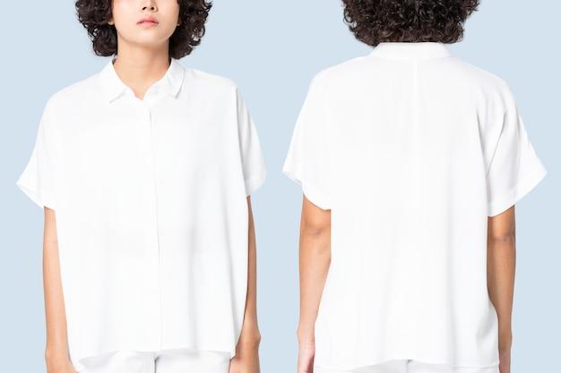 Белая женская блузка с дизайнерским пространством, базовая одежда