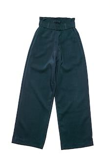 Женские широкие синие брюки, изолированные на белом фоне.
