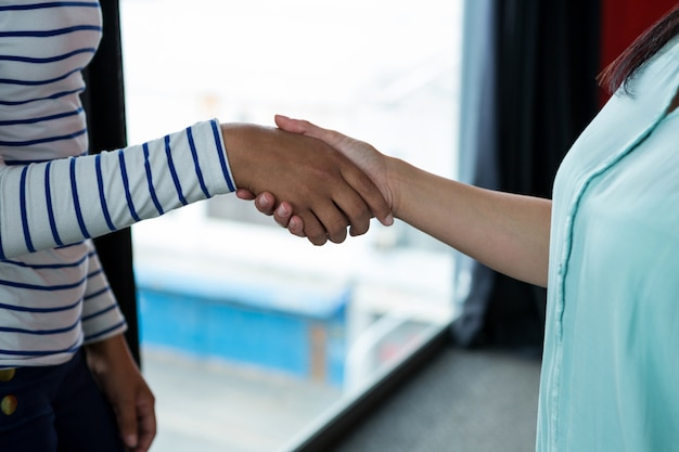Women shaking hands each other in office