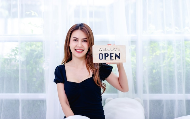Women and shop closing signs concept of closing and canceling business