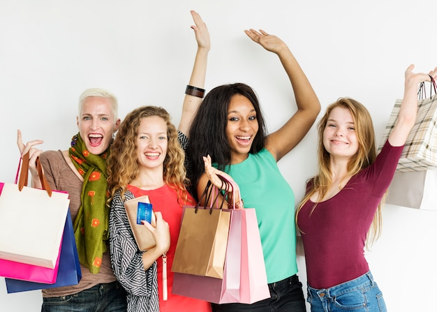 Women shopping spending consumerism shopaholic concept
