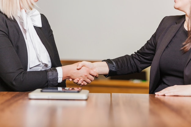 Women sitting at table shaking hands