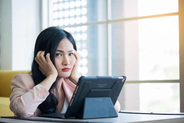 Women stressful on working in office  ,office syndrome concept
