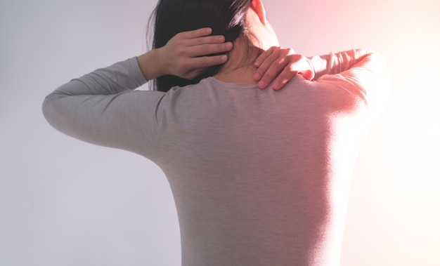 Women suffer from  neck/shoulder injury/painful after working