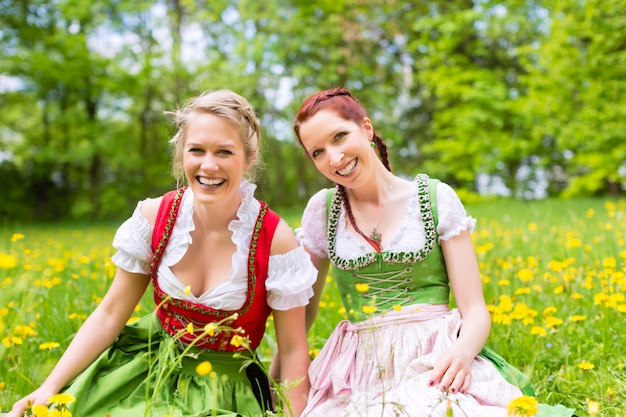 Women in traditional bavarian clothes or dirndl on a meadow