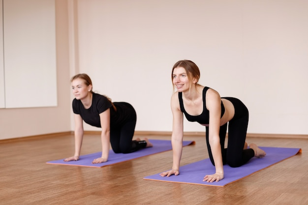 Women at training in a cat pose