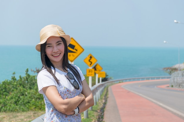 Women travel on holiday summer the sea of kung wiman, chanthaburi, thailand