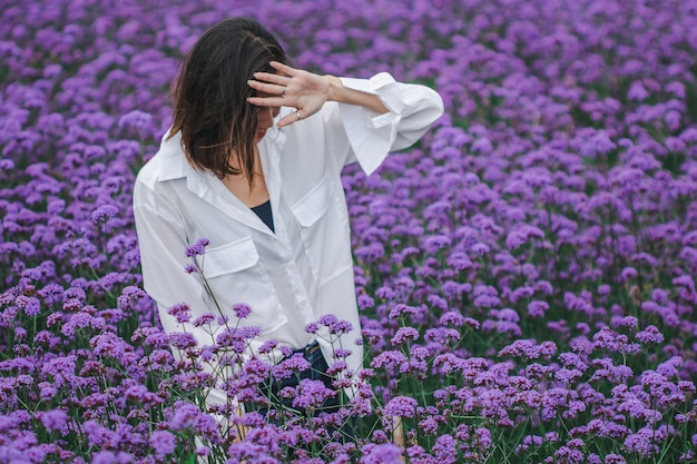 Women in the verbena field are blooming and beautiful in the rainy season.