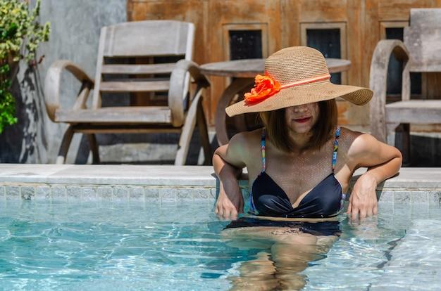 Women wearing sexy swimwear