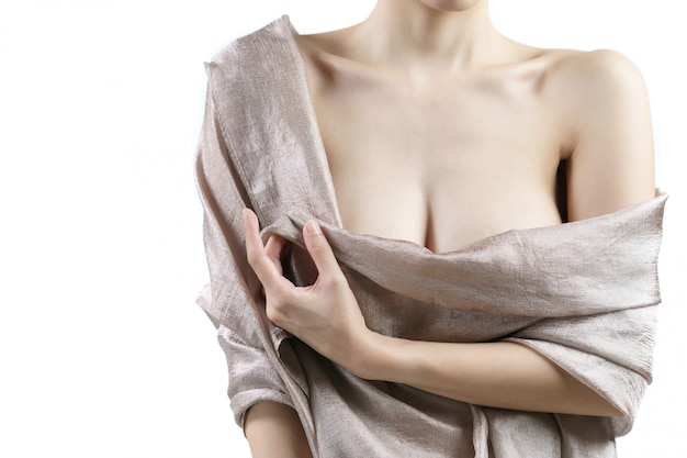 Women with beautiful breasts covered by fabric