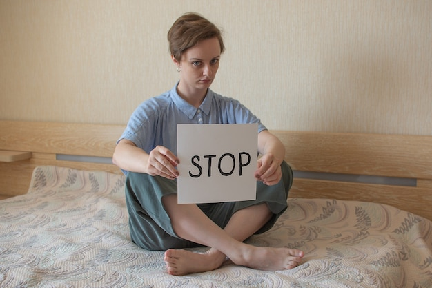 Women with text stop psychological health emotional anxiety