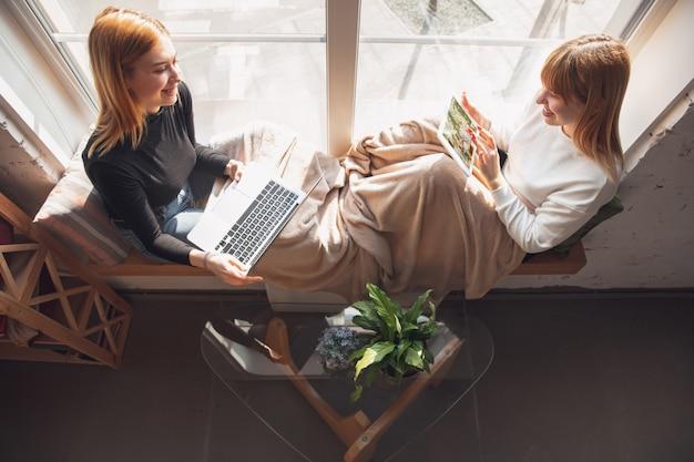 Women working from home during coronavirus or covid-19 quarantine