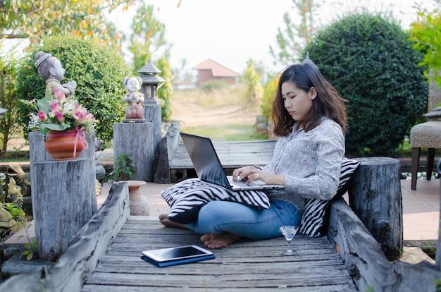 Women  working outside in the garden