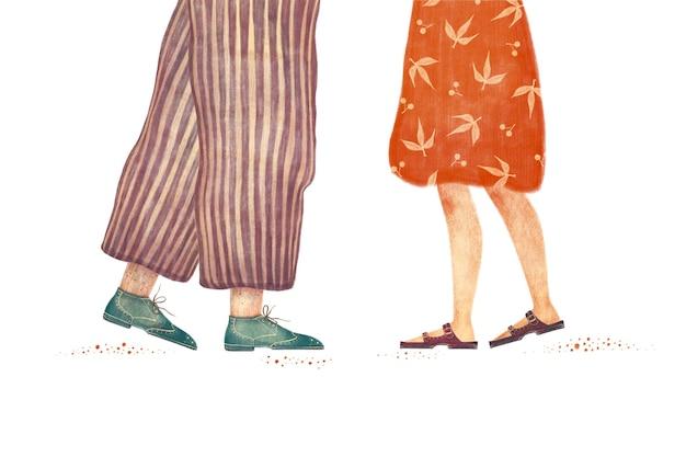 バレンタインデーのカップルのイラストを愛する白い背景で隔離の女性と男性の足