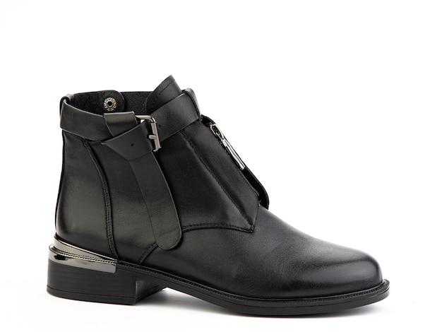 レディース秋の黒革ジョッパーズブーツ孤立した白い背景右側面図ファッション靴
