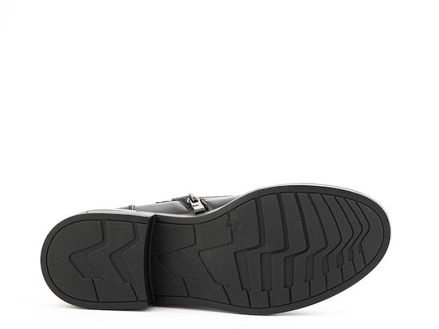 レディース秋の黒革ジョッパーズブーツ孤立した白い背景靴ソールビューファッション靴