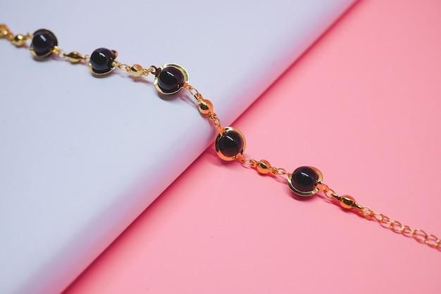 Womens gold bracelet with black diamond 01