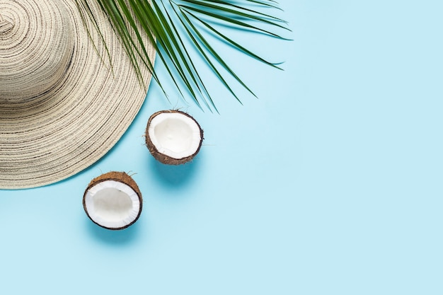 Womens hat with wide brim, sunglasses, coconut and a branch of a palm tree on a blue background.