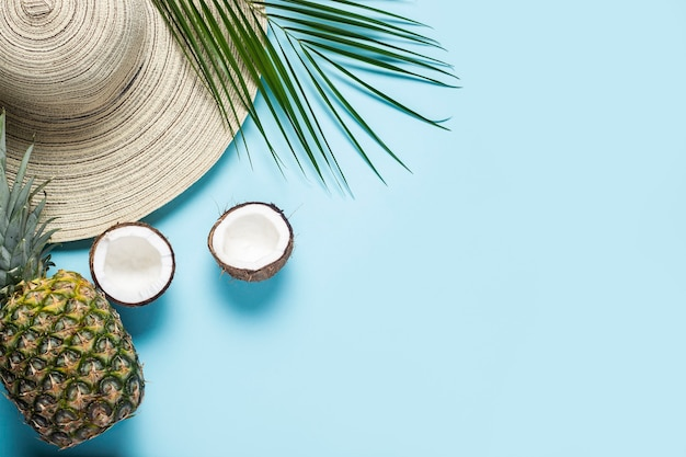 Womens hat with wide brim, tropical fruits and a branch of a palm tree on a blue background.