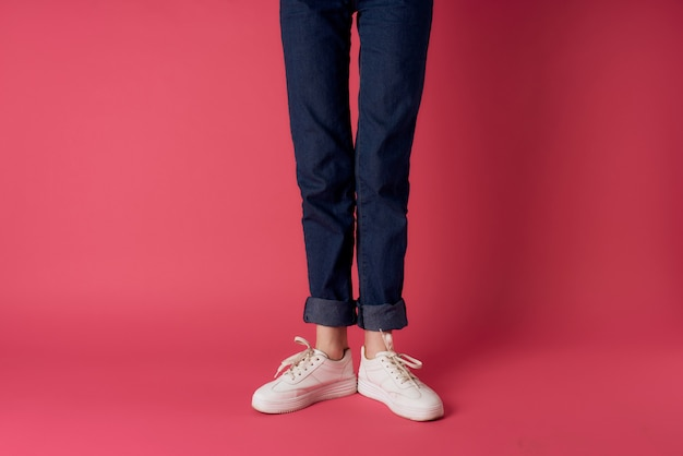 Womens legs jeans white sneakers