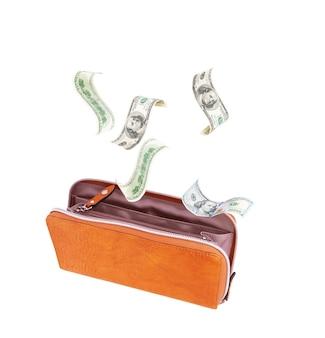 흰색 배경에 지폐와 함께 여자 오픈 지갑