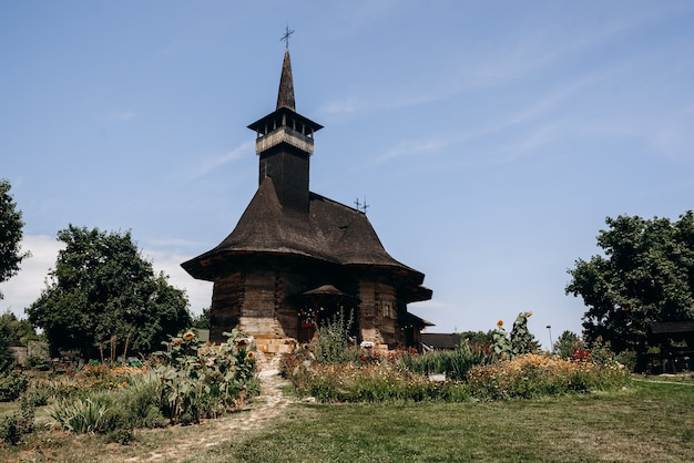 Wonderful architecture of a old wooden church in chisinau