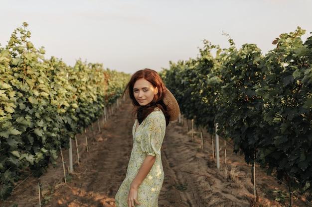 Чудесная дама с лисьей прической в стильном летнем платье и соломенной классной шляпе смотрит вперед и позирует на виноградниках