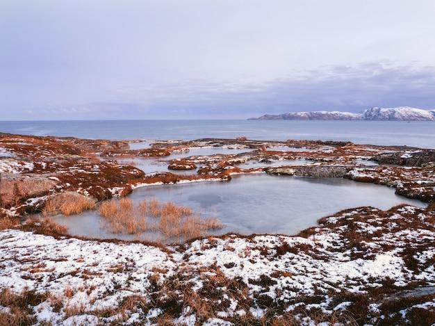 バレンツ海の海岸にある岬のある素晴らしい山の風景 Premium写真
